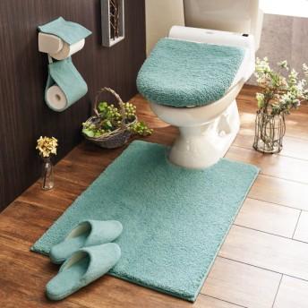 トイレマット ふわふわ 洗える すべりにくい 速乾 シンプル おしゃれ ブルー 標準マットのみ
