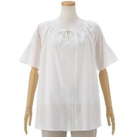 シャツ ブラウス レディース 綿ローン刺繍ボヘミアン風スモックブラウス13号 17号 オフ