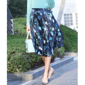 Viaggio Blu ビアッジョブルー シャイニーサテンフラワープリントスカート