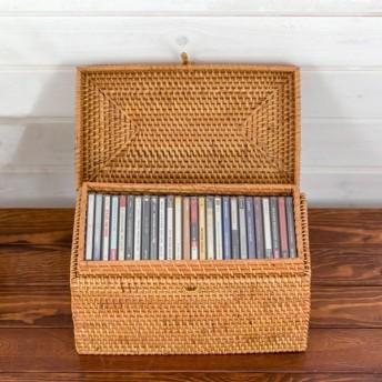 収納ケース フタ付き ラタン 藤 CDケース 小物入れ おしゃれ 収納ボックス 収納BOX ナチュラル フタつき CD収納ケース ハンドメイド アジア工房