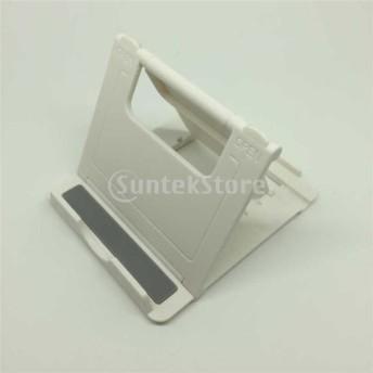 ABS樹脂製 三角形ブラケット 固定 滑り止め タブレット/携帯電話ホルダー ベッドサイド スタンド - 白