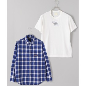 PINK HOUSE / ピンクハウス チェック&無地ボタンダウンシャツ×ロゴTシャツセット