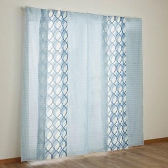 ベルメゾン 風を通すUVカット・遮像ボイルカーテン 「ブルー系」
