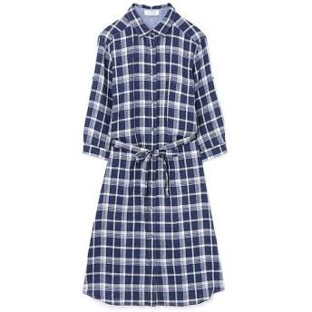 HUMAN WOMAN / ヒューマンウーマン 66/1リネンチェックシャツドレス