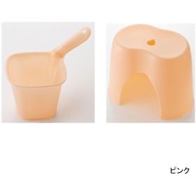風呂いす 湯桶 エアリードロップ 風呂椅子&手桶セット カラー ピンク