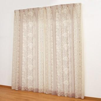 カーテン 安い おしゃれ レースカーテン ベルメゾン UVカット 遮像ボイルカーテン ケルッカ 約100×108 2枚