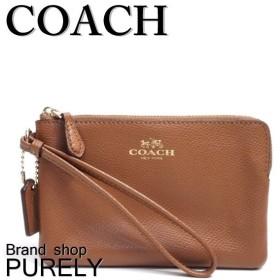 COACH コーチ ポーチ クロスグレーン レザー コーナー ジップ リストレット F54626
