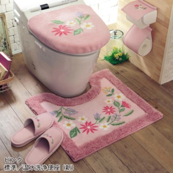 トイレマット マット&フタカバーセット 華やかプリントのトイレマット フタカバー 単品 セット ピンク