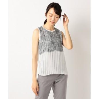 L size ONWARD(大きいサイズ) / エルサイズオンワード 【洗える】Lace Layered ノースリーブカットソー