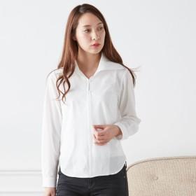 シャツ ブラウス レディース 大人の女性のための襟元キレイなスキッパーシャツ ホワイト S 7AR M 9AR L 11AR LL 13AR 3L 15AR