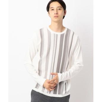 COMME CA ISM / コムサイズム ニットコンビストライプTシャツ