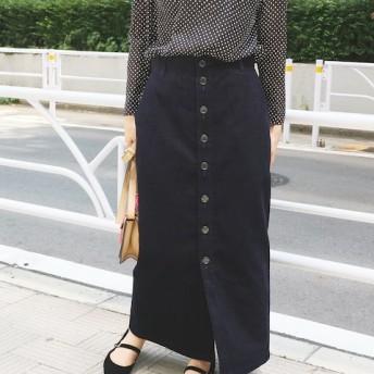 IENA コール前ボタンスカート◆ ネイビー 36
