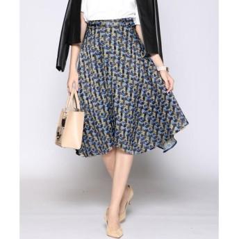 Viaggio Blu ビアッジョブルー カットジャガードキカプリントスカート