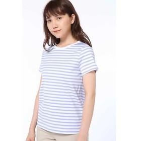 HUMAN WOMAN / ヒューマンウーマン 50/2新きょう綿 ボーダーTシャツ