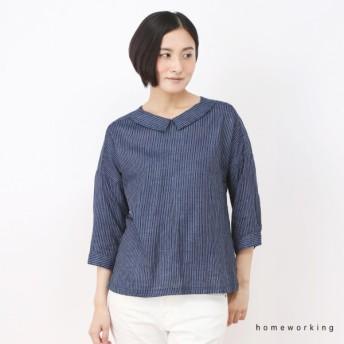シャツ ブラウス レディース 綿100%衿付きガーゼプルオーバー ネイビー系 M F
