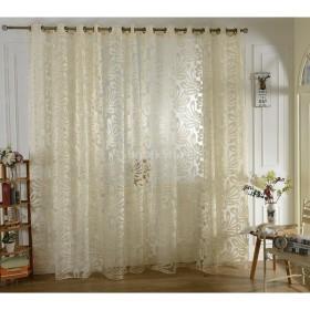 ジャカード 花柄 薄手 チュール カーテン レースカーテン リビングルーム 客間 飾り 全3色2サイズ - ベージュ, 250cmx100cm