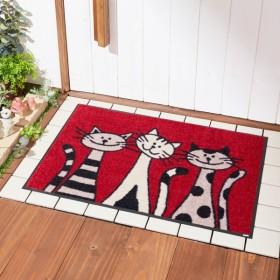 玄関マット おしゃれ マット 3匹の猫柄の泥落とし屋外玄関マット 約50×75cm