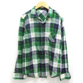 バンヤードストーム BARNYARDSTORM チェックシャツ マドラスチェック 長袖 コットン 緑 グリーン 紫 パープル 白 ホワイト 黄 イエロ— 1 総柄
