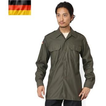 実物 新品 ドイツ軍フィールドシャツ オリーブ メンズ ミリタリーシャツ 長袖 軍用 軍服 デッドストック 放出品【クーポン対象外】