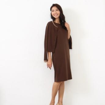 アンサンブル レディース カットソー 服 大人の女性のための着まわし抜群カットソーアンサンブル ブラウン S M L LL 3L