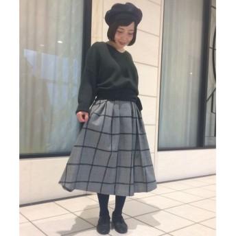 NIMES / ニーム モールグレンチェック タックフレアースカート