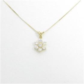 K18YG フラワー ダイヤモンドネックレス