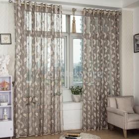 ノーブランド品リビング 寝室用 薄手 アイレット カーテン 100250cm グレー