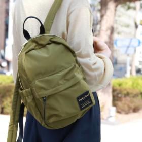 バッグ カバン 鞄 レディース リュック 高密度ナイロン調ポリエステルミニリュック カラー カーキ