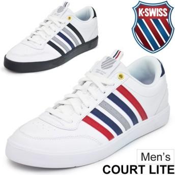 レザースニーカー メンズ ケースイス K-SWISS Court Lite CMF コートタイプ 男性 ローカット 天然皮革 軽量 05338-112/05338-136 カジュアル 靴/CourtLite