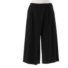 パンツ レディース クロップドパンツ 二重織りスカート風ガウチョパンツ72〜80 クロ