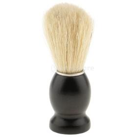 ひげそり用ブラシ 木製ハンドル シェービングブラシ 家庭 プロ 全4色 ランダム  - 黒