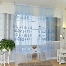 ノーブランド品ホーム リビング 窓 寝室用 薄手 カーテン  パネル シアー ドレープ 全6色選べる - ブルー