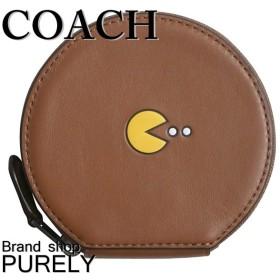 全品ポイント2倍 コーチ COACH 小物 レディース 財布 コインケース パックマン ラウンド コインケース 小銭入れ F54871 QB/SD サドル