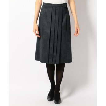 J.PRESS / ジェイプレス 【セットアップ対応】グレンチェック/チョークストラライプ 巻き風スカート