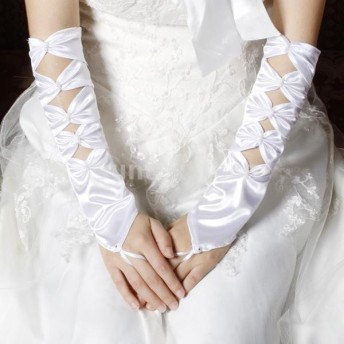 手袋 ウェディンググローブ ブライダル手袋 ネイル手袋 美しい 花嫁 ウエディング パーティ 結婚式 花嫁用品 35cm ホワイト
