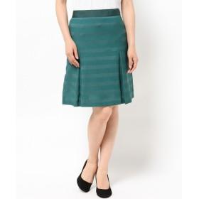 L size ONWARD(大きいサイズ) / エルサイズオンワード T/Rジャカードボーダー スカート