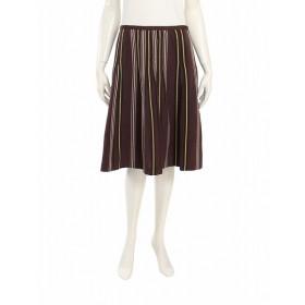 ビーシービージーマックスアズリア BCBGMAXAZRIA スカート 茶色 黄色 マルチカラー S ボトムス ひざ丈 フレア ストライプ 刺繍 4 コットン 綿 シルク