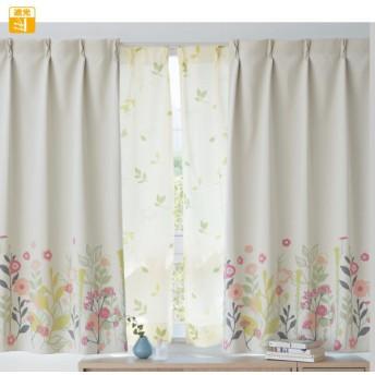 カーテン カーテン 草花が生い茂る遮光カーテン 2枚 約130×135