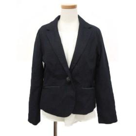 ショコラフィネローブ chocol raffine robe 2点セット ジャケット テーラード シングル ブラウス タック M 紺 ネイビー /mm レディース【中古】