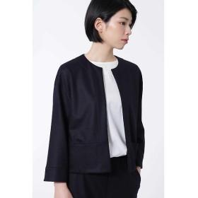 HUMAN WOMAN / ヒューマンウーマン ≪Japan couture≫ウールカルゼニットノーカラージャケット