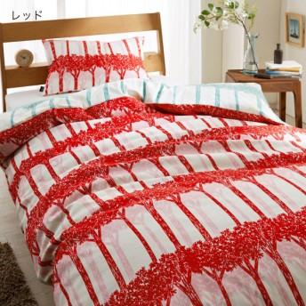 布団カバー 掛け布団カバー 日本製 北欧調デザインの 綿100%掛け布団カバー レッド ダブル