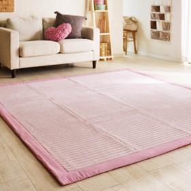 ラグ おしゃれ キルトラグ カーペット ふかふか綿素材のラグ ピンク 約190×190