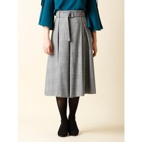 CLEAR IMPRESSION / クリアインプレッション 《WEB限定大きいサイズ》リボンベルト付チェックフレアスカート