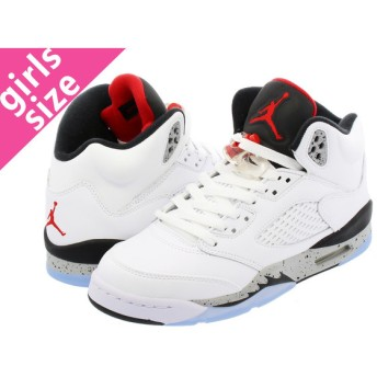 NIKE AIR JORDAN 5 RETRO BG 【WHITE CEMENT】 ナイキ エア ジョーダン 5 レトロ BG WHITE/UNIVERSITY RED/BLACK/METALLIC SILVER