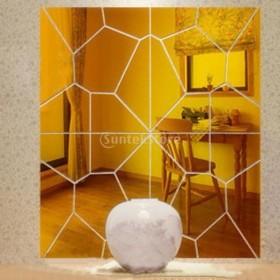 ノーブランド品ウォールステッカー 鏡効果 ミラー効果 モアレパターン 壁画 装飾 (ゴールデン)