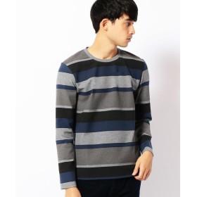 COMME CA MEN / コムサ・メン ランダムボーダープリントTシャツ