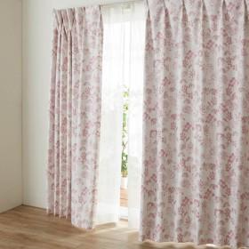 カーテン カーテン 裏面コーティングの遮光 遮熱 防音カーテン 草花 約100×90 2枚 約100×110 2枚
