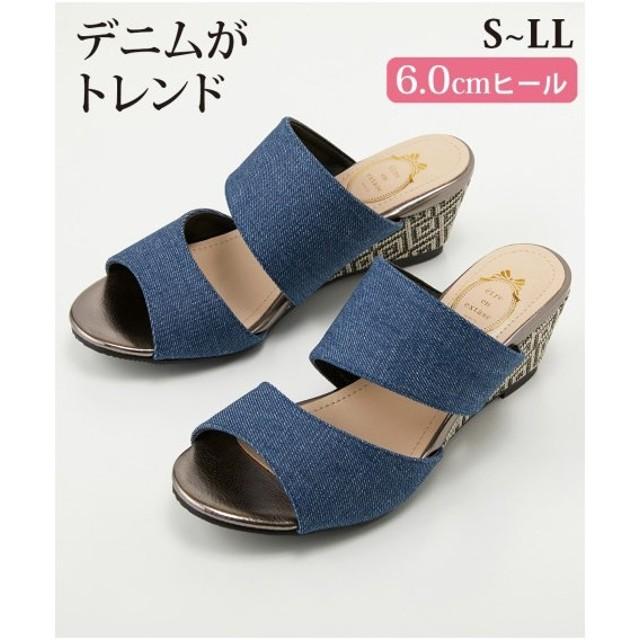 サンダル レディース ダブル ベルト ウェッジ 靴 22.5〜23.0/23.0〜23.5/23.5〜24.0/24.0〜24.5cm ニッセン