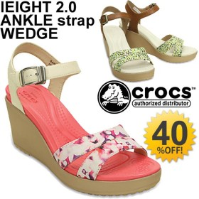 ウエッジサンダル crocs クロックス レイ 2.0 アンクル ストラップ グラフィック ウェッジ レディース シューズ くつ 花柄 CROCS/202516