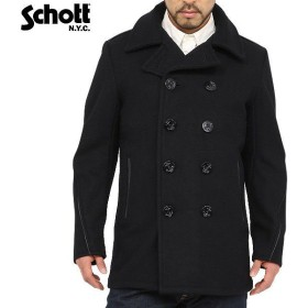 Schott ショット 740C レザーパイピングピーコート 7081 メンズ Pコート ジャケット ブルゾン ジャンパー アメカジ ブランド【クーポン対象外】